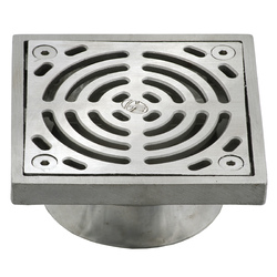 HeelGrate® Stainless Steel Floor Drain Grate Square 100x80 PVC Slip-In
