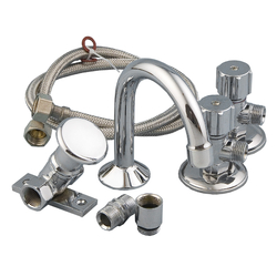 Ezy-Push Chrome Plated Brass Push Button Foot Valve 60° Mount, Spout & Connection Kit