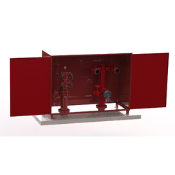 WA Firemain Booster & Suction Riser Set with Dual Camlock T-Head 150 TE and Cabinet (Painted)