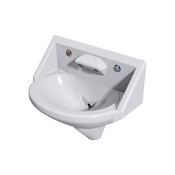 Wallgate Anti-Ligature, Anti-Vandal Solid Surface High Secure Basin; 2 Out; 2 Piezo Activation - White