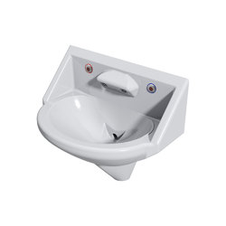 Wallgate Anti-Ligature, Anti-Vandal Solid Surface High Secure Basin; 2 Out; 2 Infra-Red Activation - White