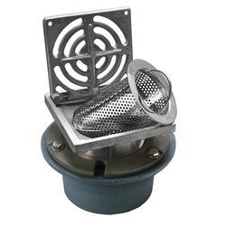 Bucket Floor Trap Combo - CI 100PVC Std Body & Stainless Steel SQ Grate 150 & Stainless Steel Strainer