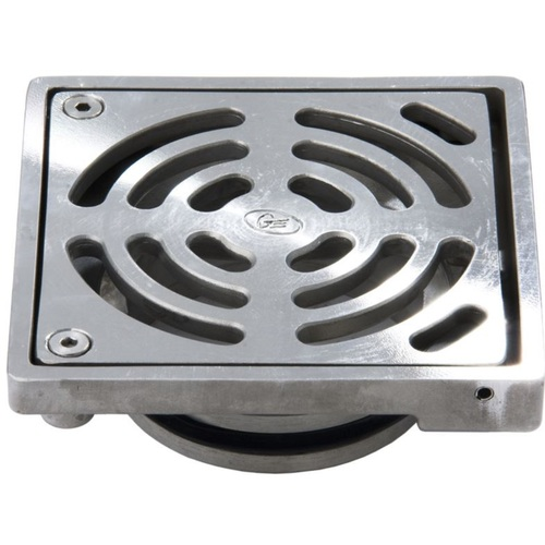Stainless Steel Floor Drain Grate Ass Square 100 x 50PVC Slip-In