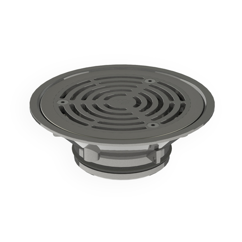 Stainless Steel HeelGrate Floor Drain Vinyl Round 150 x 100 with Stainless Steel Steel Body PVC/HDPE/CU Slip-In