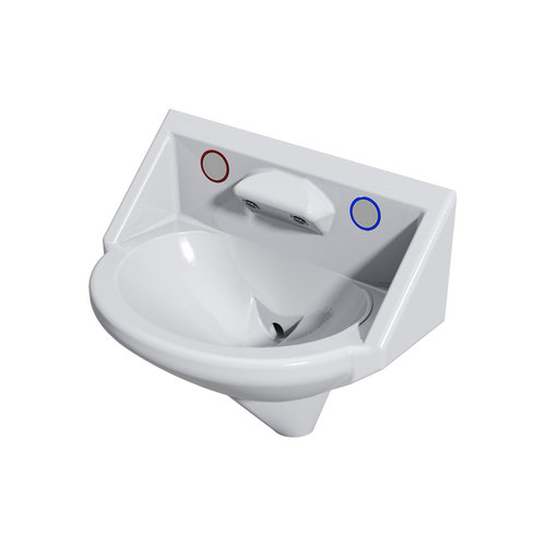 Wallgate Anti-Ligature, Anti-Vandal Solid Surface High Secure Basin, 2 Out for Pneumatic Activation - White