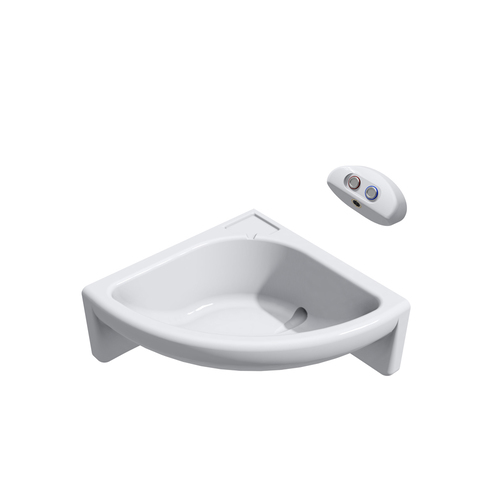 Wallgate Solid Surface Corner Wash Basin RH Only