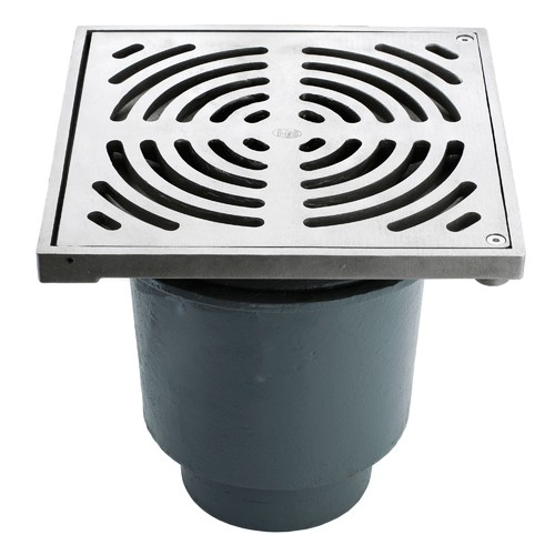 Bucket Floor Trap Combo - CI 100PVC Deep Body & Stainless Steel SQ Grate 300 & Stainless Steel Dual Strainer