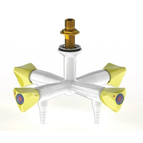 "ProLab Epoxy Coated Brass 4-Way Valve Suspended Mtd, 90° Outlet - Push Turn ""Choose Media"""
