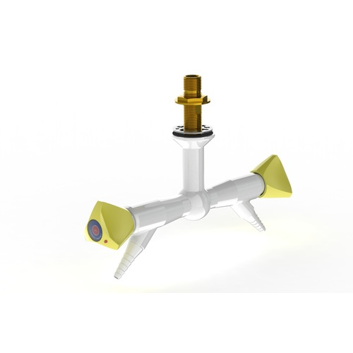 "ProLab Epoxy Coated Brass 2-Way Valve 180° Suspended Mtd, 45° Outlet - Push Turn ""Choose Media"""