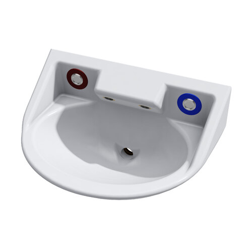 Wallgate Anti-Ligature, Anti-Vandal Solid Surface Basin with Dual Out & Piezo Activation - White